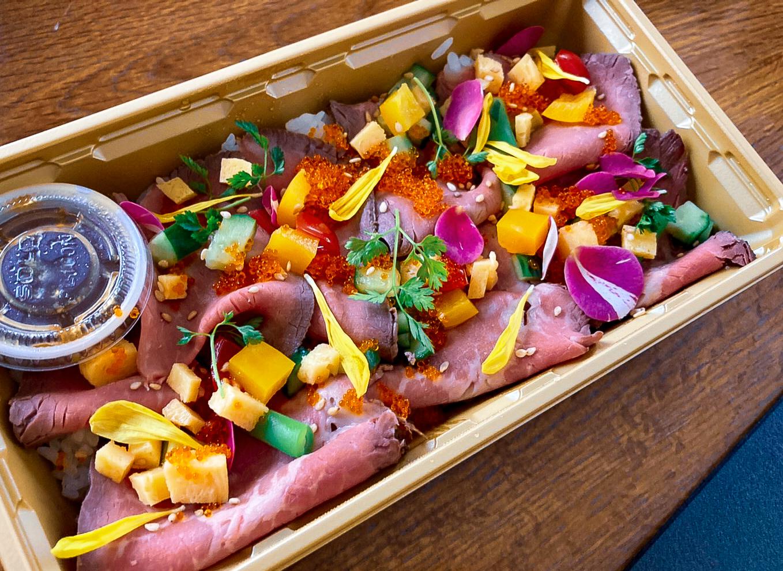 ぽんぽこの湯の限定メニュー「肉バラ寿司」